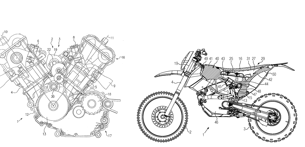 picture left: V2 Motorcycle engine     Picture right: motorcycle with air filter element integrated in the fuel tank